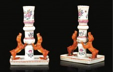 Chinese famille rose export porcelain candlesticks