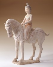 Tang Dynasty pottery horse with lady rider