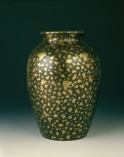 Gold splashed bronze vase