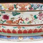 Rare export porcelain famille rose oval basin